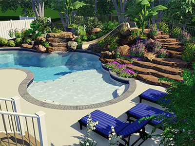 Lagoon pool deck design Land O'Lakes