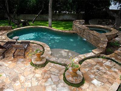 Pool deck with earth tones