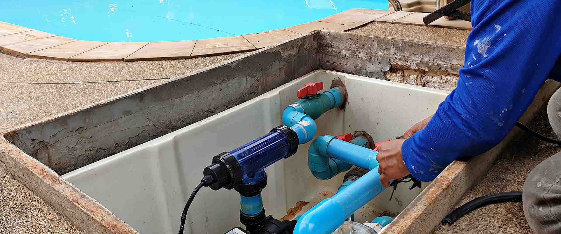 Pool repair and installation slider