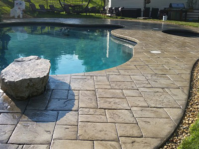 Stamped concrete pool decking option